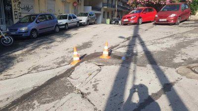 Δήμος Σερρών : ¨¨Κινούμενη άμμος ¨¨ το οδόστρωμα στην Εμμανουηλ Ανδρόνικου