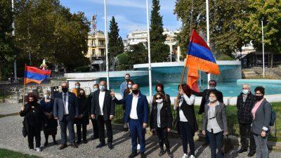 Δήμος Σερρων : Ύψωση της αρμενικής σημαίας στην πλατεια Ελευθερίας