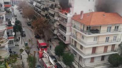 Σέρρες : Έκτακτο -Συμβαίνει τώρα  Φωτιά σε διαμέρισμα  ( φωτια )