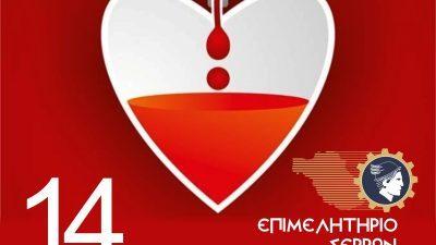 Επιμελητήριο Σερρών : Εθελοντικη αιμοδοσία  Παρασκευή 14 Μαίου